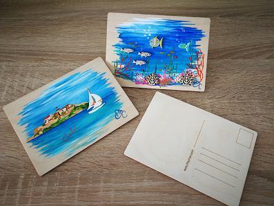 Cartes postale en bois